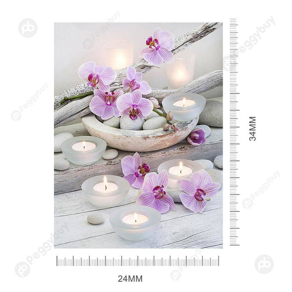30*40CM Round Drill Diamond Painting-Flower Candle