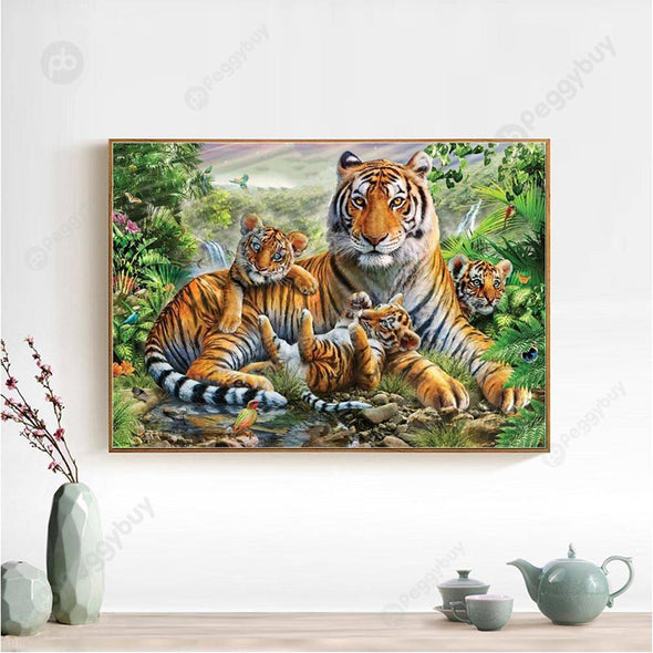 40*30CM Round Drill Diamond Painting-Tiger Family Forest