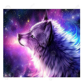 35*30CM Round Drill Diamond Painting-Purple Wolf