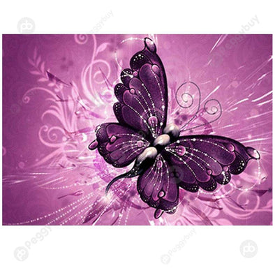 40*30CM Round Drill Diamond Painting-Butterfly