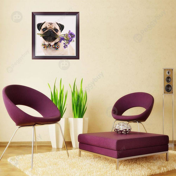 30*30CM Special Shaped Diamond Painting-Dog Flower