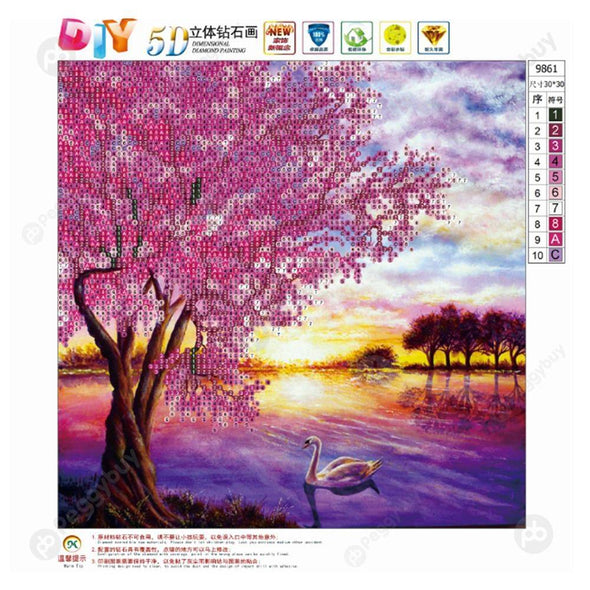 30*30CM Round Drill Diamond Painting-Street