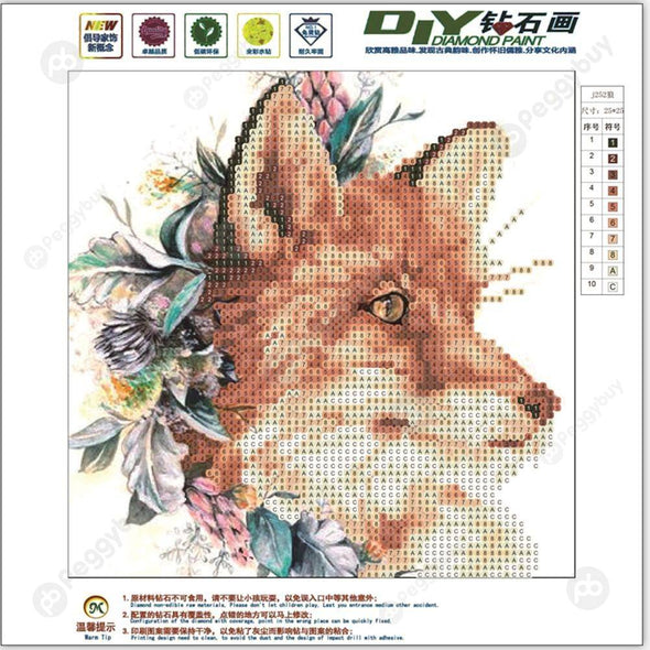 25*25CM Round Drill Diamond Painting-Wolf