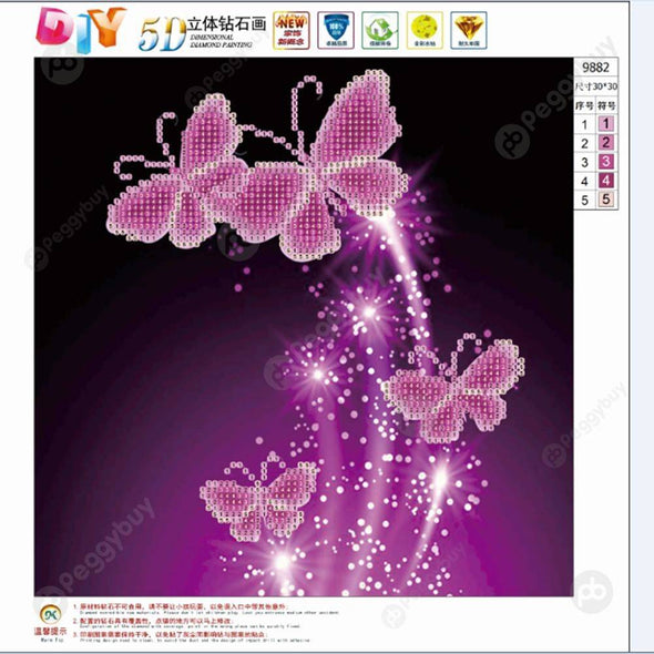 30*30CM Round Drill Diamond Painting-Butterflies