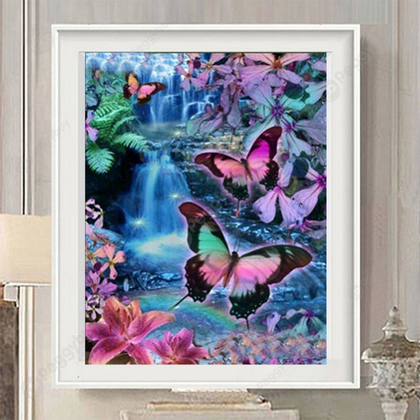 40*30CM Round Drill Diamond Painting-Colorful Butterfly