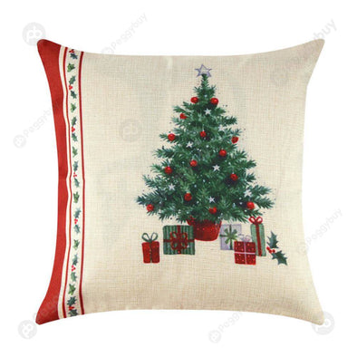 Print Cushion Cover Linen Pillow Cases Home Decor(christmas tree)
