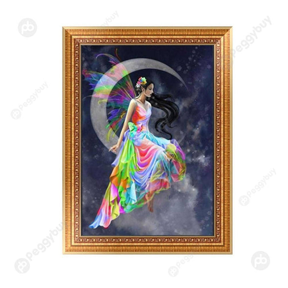 30*42CM Round Drill Diamond Painting-Moon Beauty