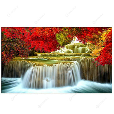 30*80CM Round Drill Diamond Painting-Waterfall Landscape