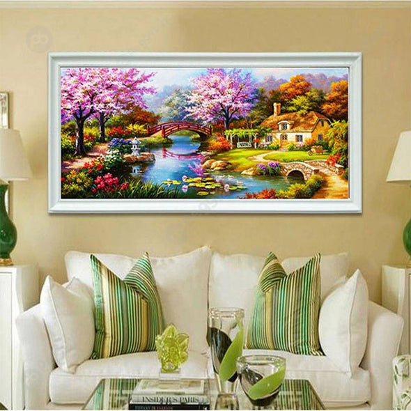 80*38CM Round Drill Diamond Painting-Dream Home Landscape