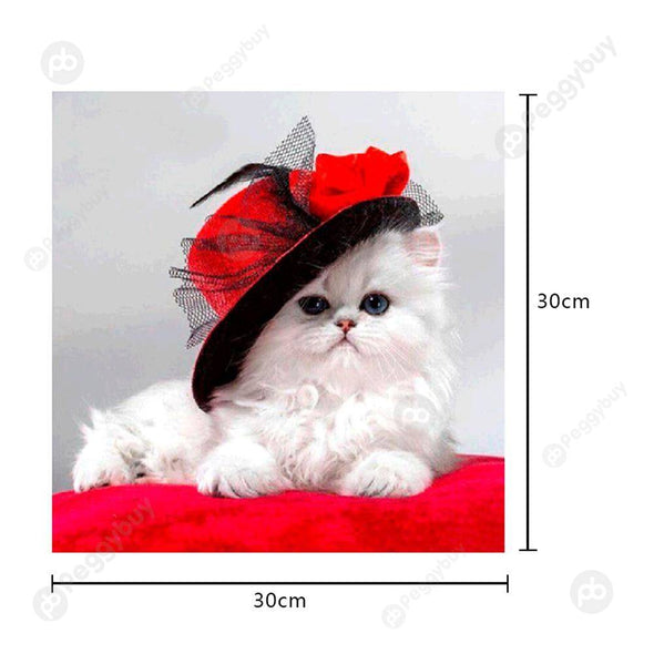 30*30CM Special Shaped Diamond Painting-Hat Cat