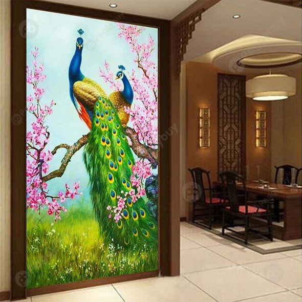 30*54CM Special Shaped Diamond Painting-Peacock