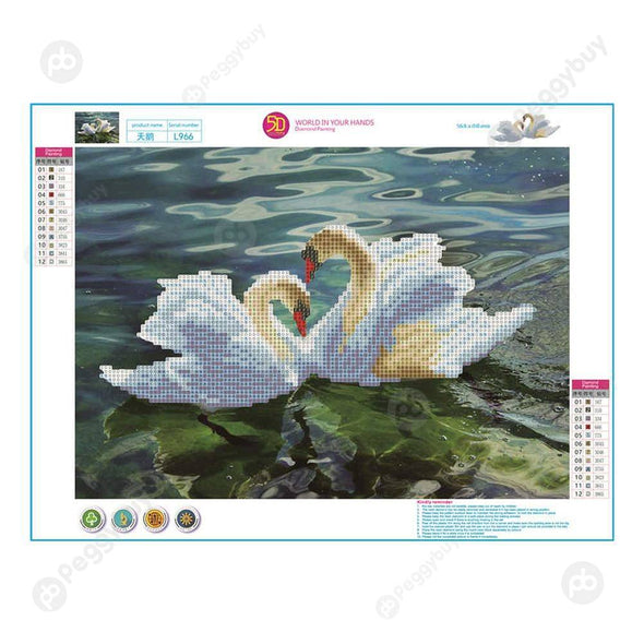 40*30CM Round Drill Diamond Painting-Swan