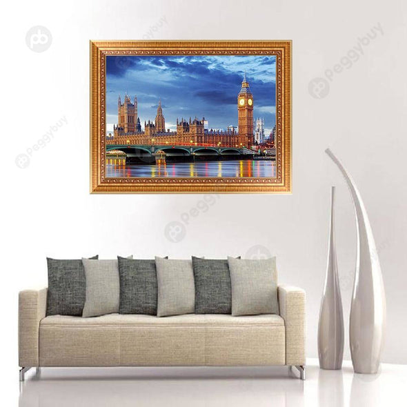 40*30CM Round Drill Diamond Painting-Crystal London Night View