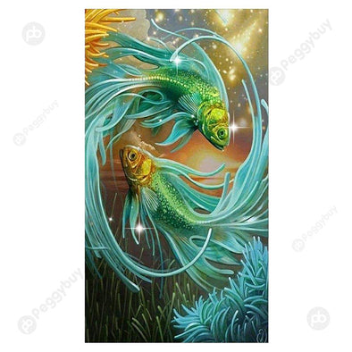 30*50CM Special Shaped Diamond Painting-Two Fish(Green)