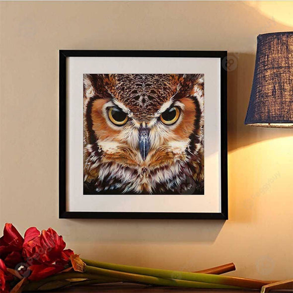 30*30CM Round Drill Diamond Painting-Owl