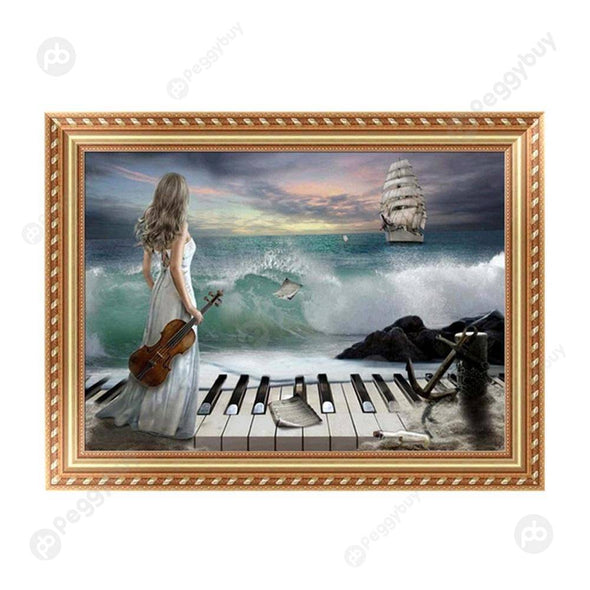 30*40CM Round Drill Diamond Painting-Girl Piano