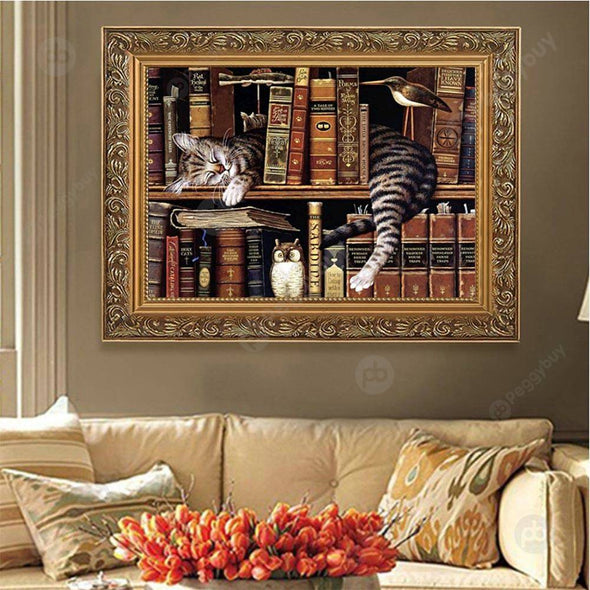 30*40CM Special Shaped Diamond Painting-Bookshelf Cat