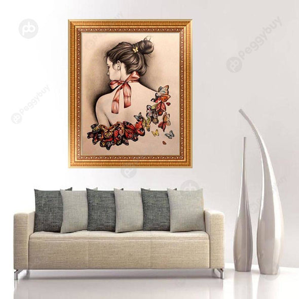 30*40CM Round Drill Diamond Painting-Butterfly Beauty Back