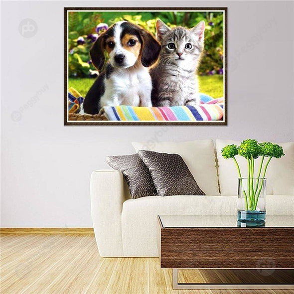 40*30CM Round Drill Diamond Painting-Cat Dog