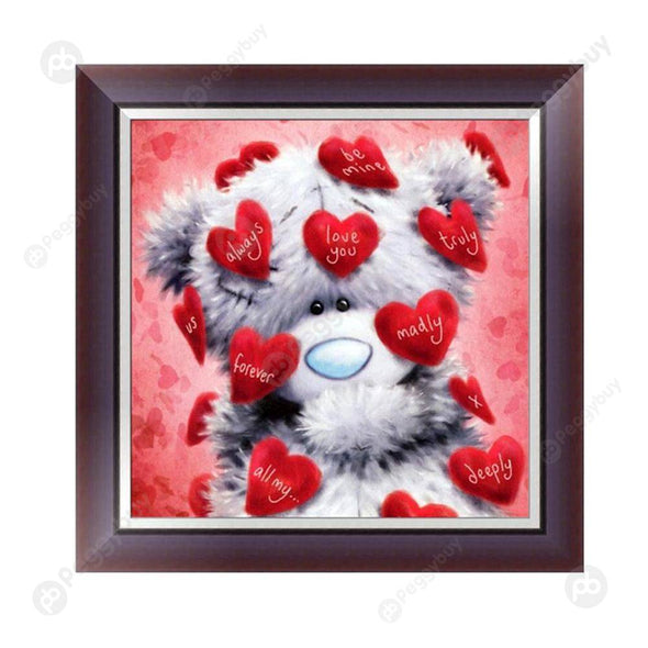 30*30CM Round Drill Diamond Painting-Heart Bear