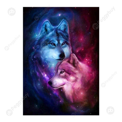 30*40CM Round Drill Diamond Painting-Wolf