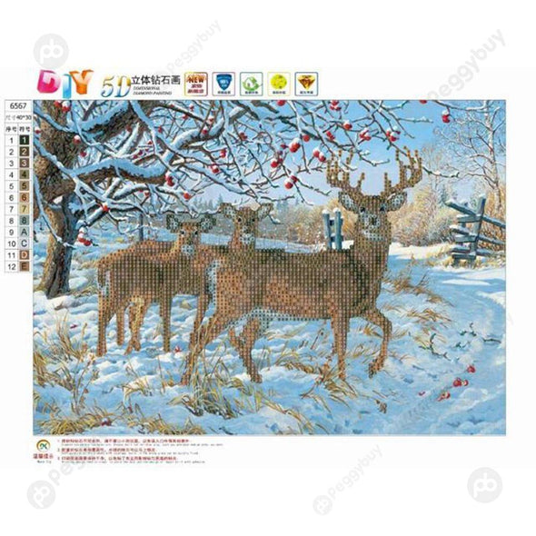 40*30CM Round Drill Diamond Painting-Deer