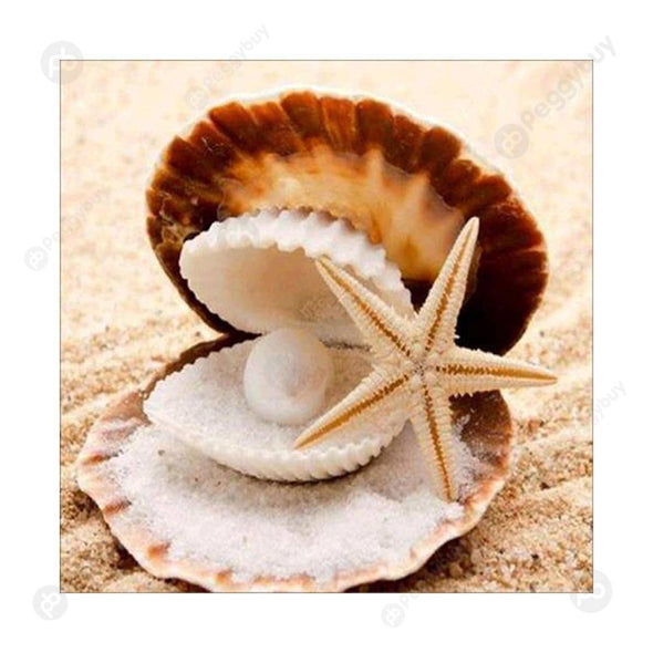 30*30CM Round Drill Diamond Painting-Starfish Shell