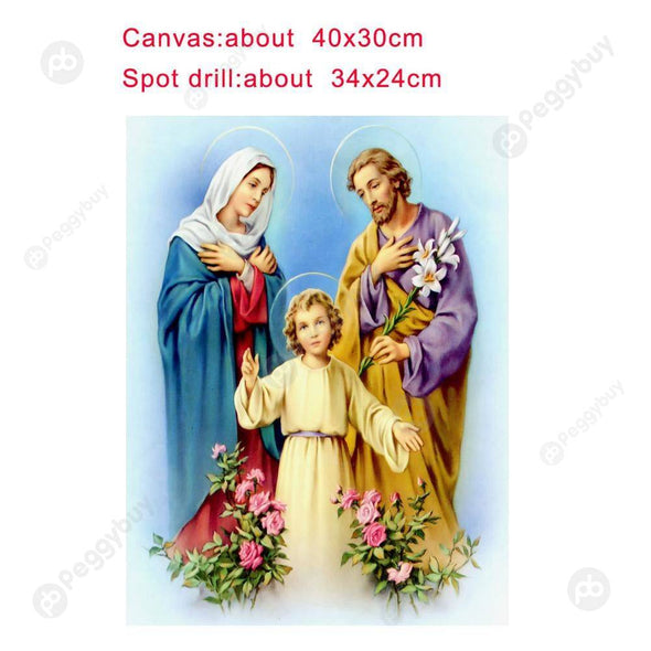 40*30CM Round Drill Diamond Painting-Religious Figure