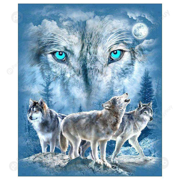 30*35CM Round Drill Diamond Painting-Wolf
