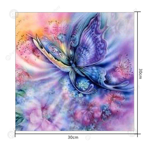 30*30CM Round Drill Diamond Painting-Butterfly