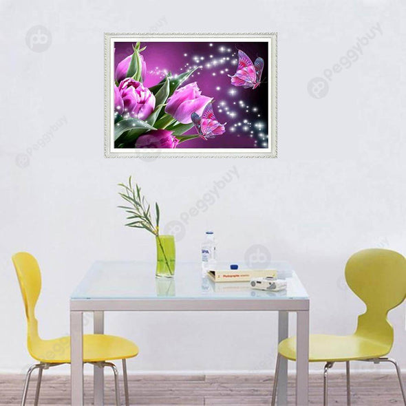 40*30CM Round Drill Diamond Painting-Butterfly Flower