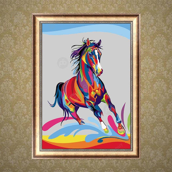 30*40CM Round Drill Diamond Painting-Colorful Horse