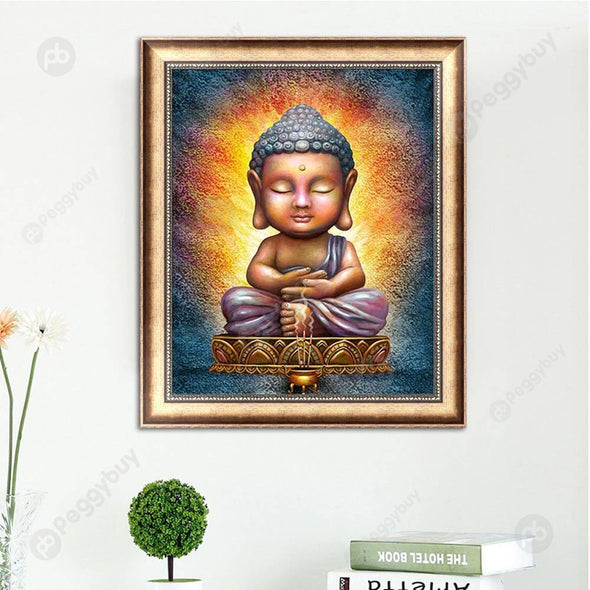 30*36CM Round Drill Diamond Painting-Buddha