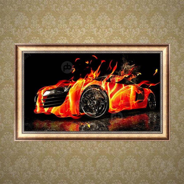 48*30CM Round Drill Diamond Painting-Cars