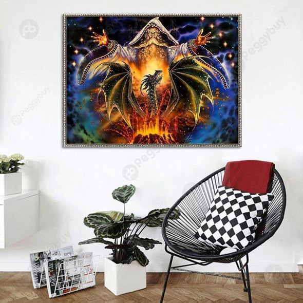 38*30CM Round Drill Diamond Painting-Sorcerer