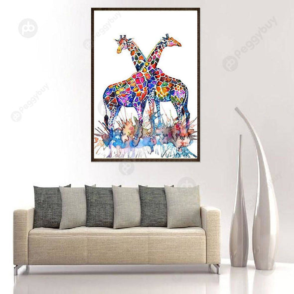 30*40CM Round Drill Diamond Painting-Giraffe