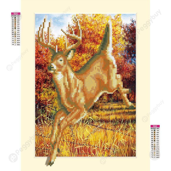 35*45CM Round Drill Diamond Painting-Antelope