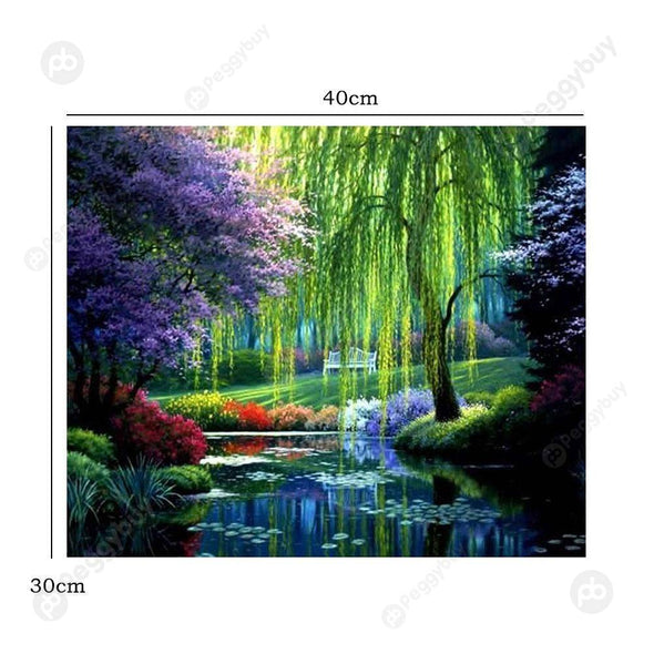 30*40CM Round Drill Diamond Painting-River Scenery