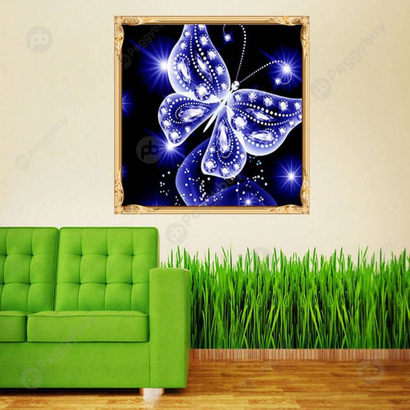 30*30CM Round Drill Diamond Painting-Butterfly Blue