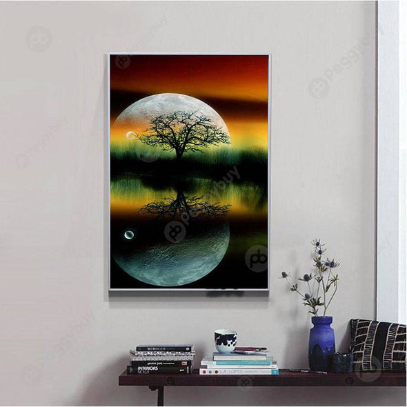 40*25CM Round Drill Diamond Painting-Trees Green