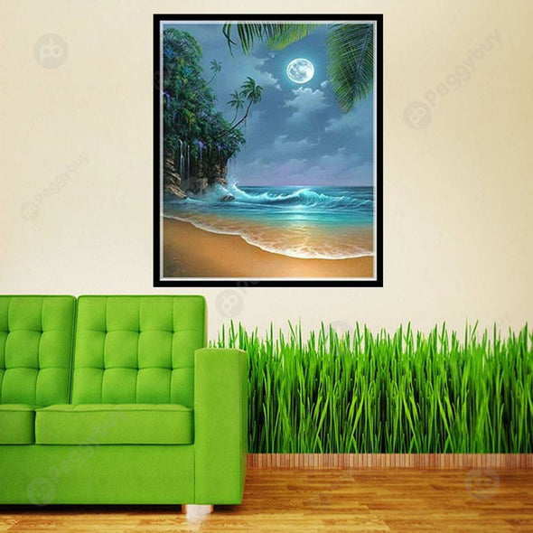 30*40CM Round Drill Diamond Painting-Moon Sea