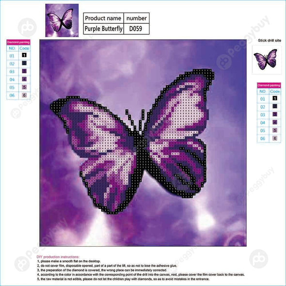 30*30CM Round Drill Diamond Painting-Butterfly Purple