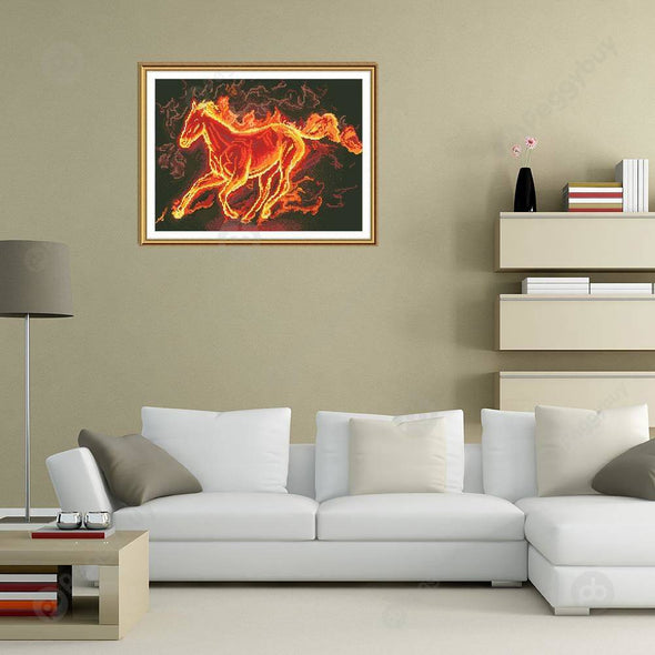 30*40CM Round Drill Diamond Painting-Fire Horse