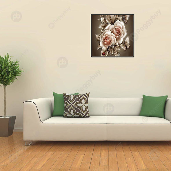 35*35CM Round Drill Diamond Painting-Retro Flowers