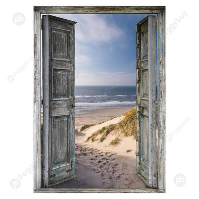 40*30CM Special Shaped Diamond Painting-Seaside Doors
