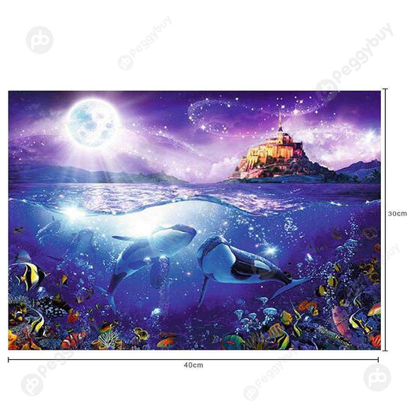 30*40CM Round Drill Diamond Painting-Dolphins Castle