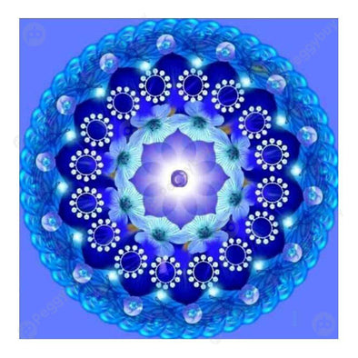 30*30CM Round Drill Diamond Painting-Blue Flower