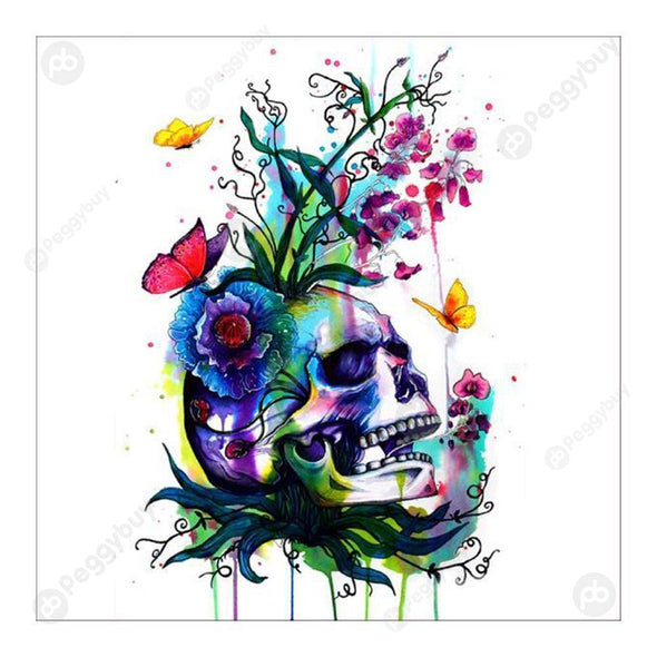 30*30CM Special Shaped Diamond Painting-Skull Flower