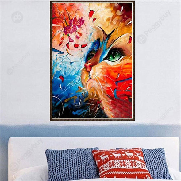 30*40CM Round Drill Diamond Painting-Colorful Cat