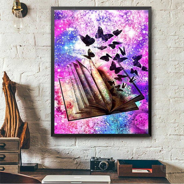 40*30CM Special Shaped Diamond Painting-Coloured Dreamy Butterflies Book